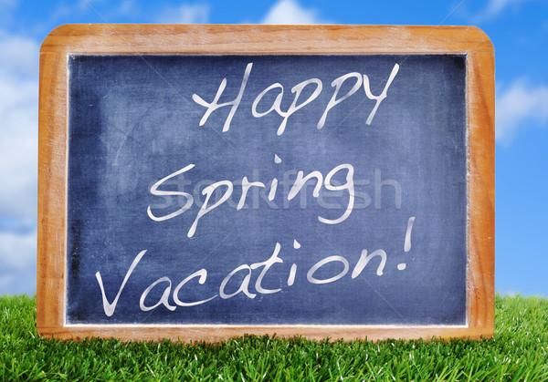 Stock fotó: Boldog · tavasz · vakáció · írott · iskolatábla · fű