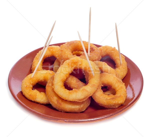 spanish calamares a la romana, squid rings breaded and fried Stock photo © nito