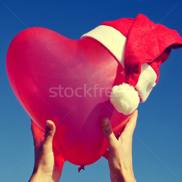 Balon Święty mikołaj hat ktoś strony Zdjęcia stock © nito