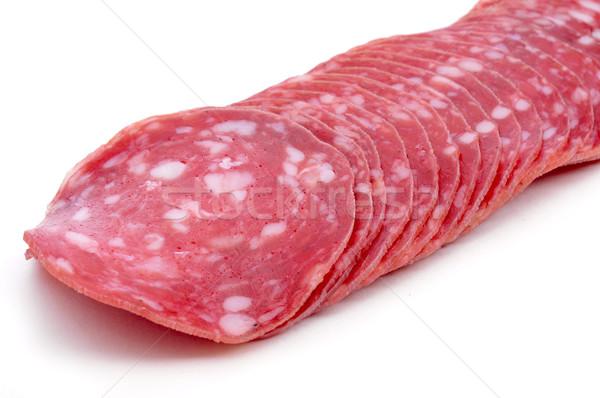 Stock photo: slices of salchichon, spanish cured sausage