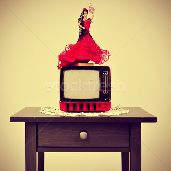 old-fashioned spanish living room, with a flamenca doll in top o Stock photo © nito