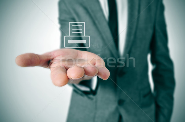 businessman with a printer icon Stock photo © nito