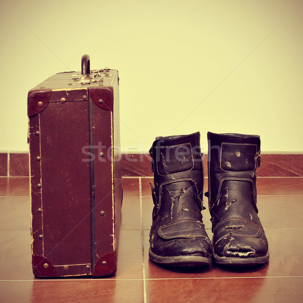 old suitcase and worn boots Stock photo © nito