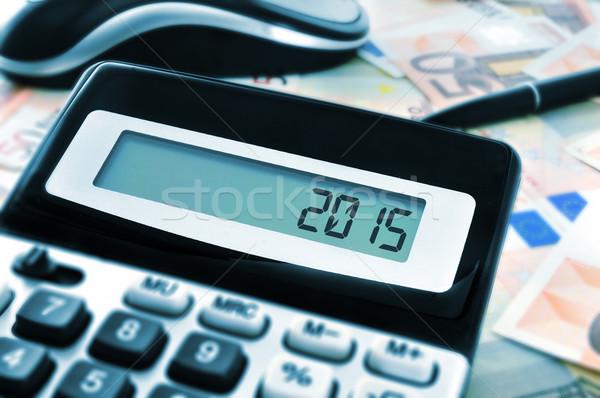 2015 nieuwjaar aantal display calculator kantoor Stockfoto © nito