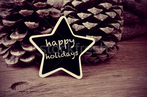 text happy holidays in a star-shaped blackboard, in black and wh Stock photo © nito