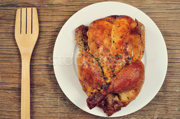 roast turkey on a rustic wooden table Stock photo © nito