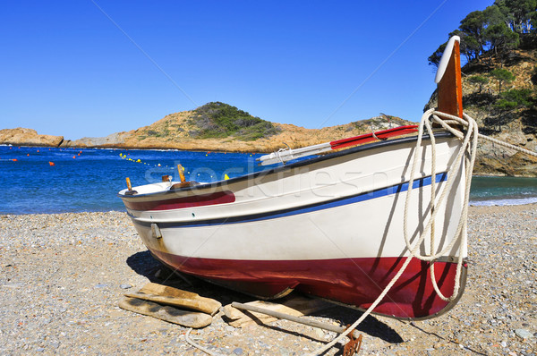 fishing boat stranded on the beach in the Costa Brava, Spain Stock photo © nito