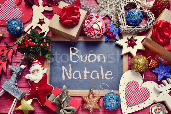 ornaments and text buon natale, merry