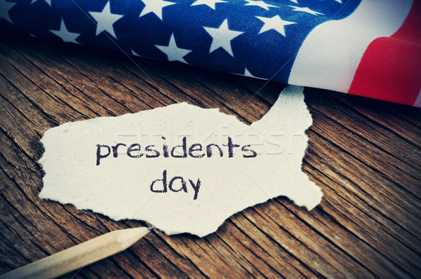the flag of the US and the text presidents day, vignetted Stock photo © nito