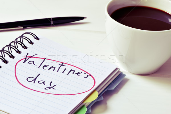coffee and text valentines day in a notebook, filtered Stock photo © nito