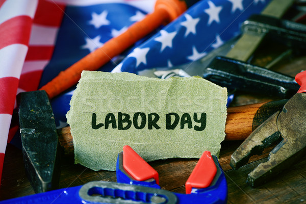 tools, American flag and text labor day Stock photo © nito