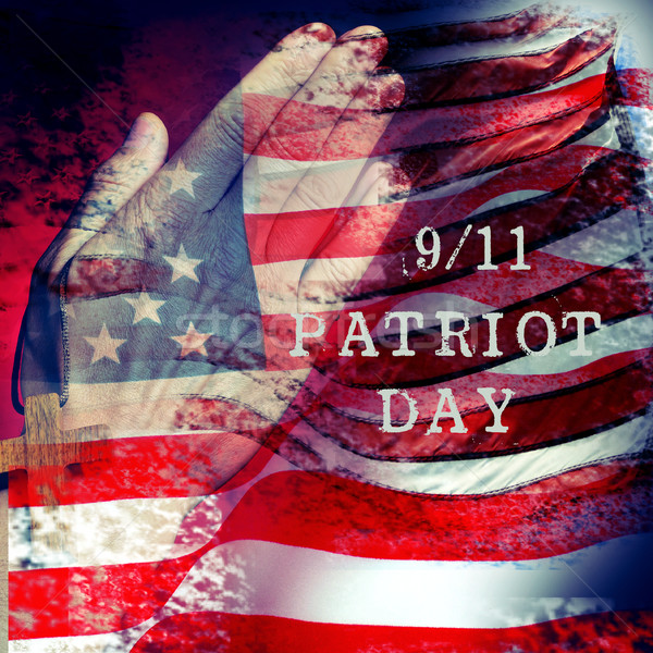 text 9/11 Patriot Day and flag of the United States of America Stock photo © nito