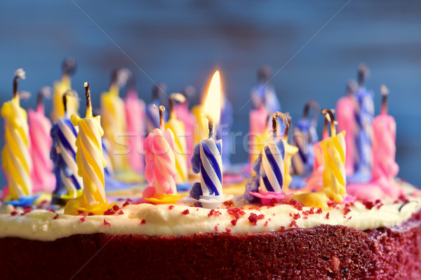 blowing out the candles of a cake Stock photo © nito