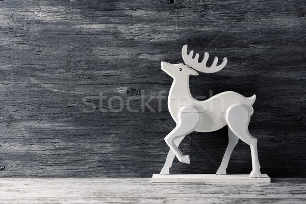 Biały renifer szary rustykalny powierzchnia Zdjęcia stock © nito
