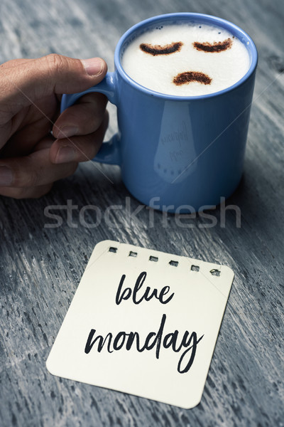cappuccino with a sad face and text blue monday Stock photo © nito