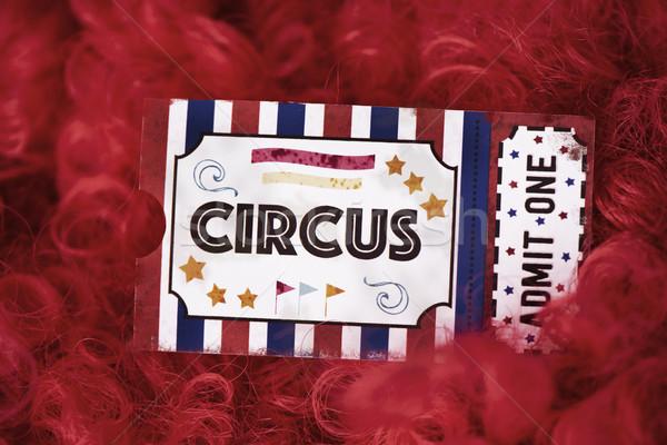 Sirk bilet palyaço kırmızı peruk taklit Stok fotoğraf © nito