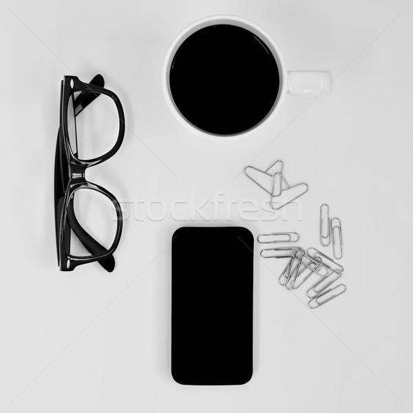 Okulary smartphone kawy shot pary kubek Zdjęcia stock © nito