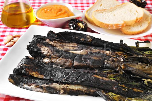 Zoete uien saus typisch plaat Stockfoto © nito