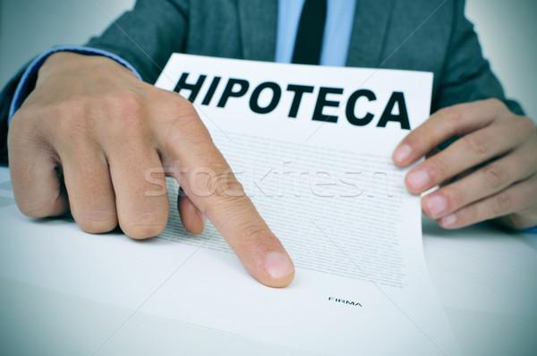 человека документа слово ипотечный заем молодые Сток-фото © nito