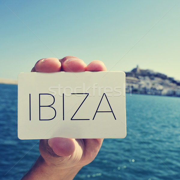 man with a signboard with the word Ibiza, in Ibiza Town, Spain;  Stock photo © nito