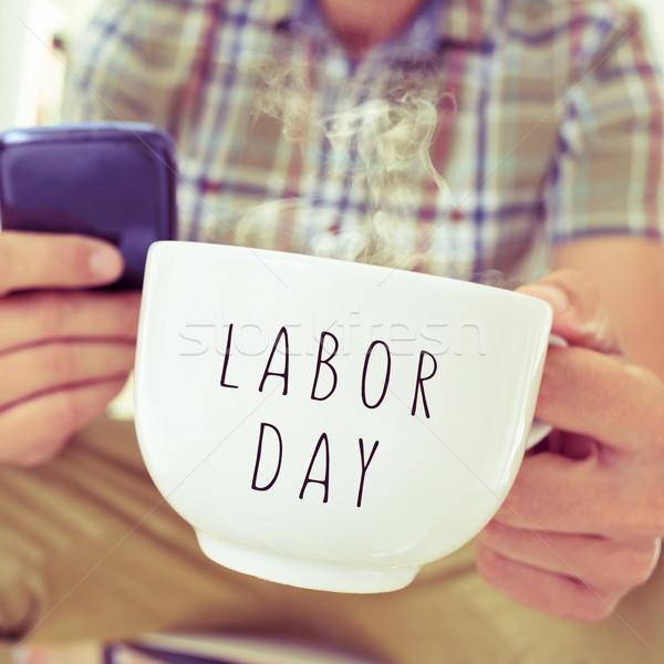 Fiatalember bögre szöveg munka nap közelkép Stock fotó © nito
