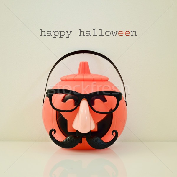 disguised carved pumpkin and text happy halloween Stock photo © nito