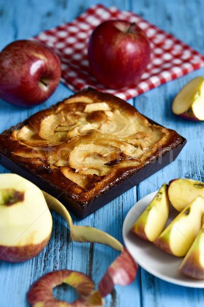 Elma kek elma mavi tablo Stok fotoğraf © nito