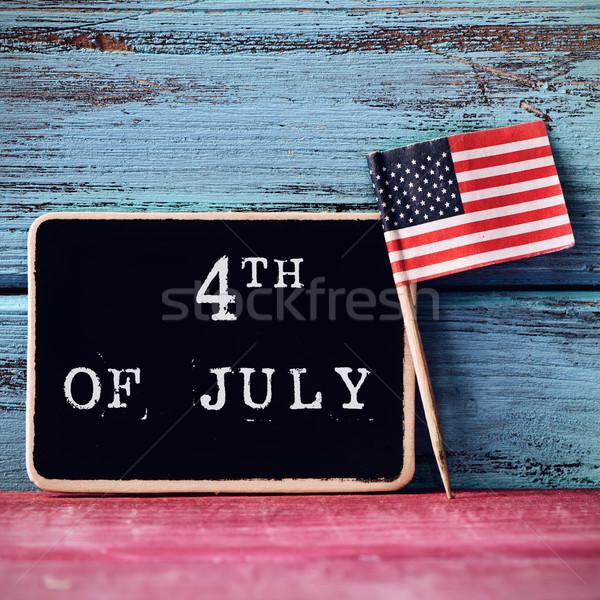 Szöveg negyedike amerikai zászló tábla írott zászló Stock fotó © nito