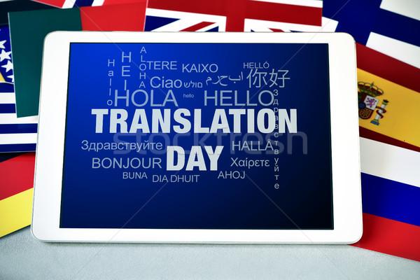 Text Übersetzung Tag Tablet-Computer Bildschirm Wort Stock foto © nito
