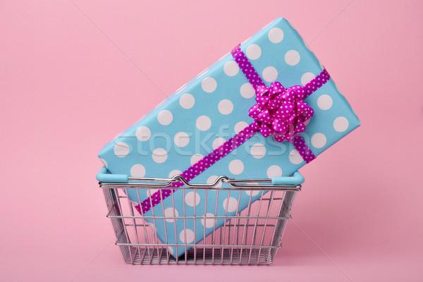 Geschenk Blauw papier witte Stockfoto © nito