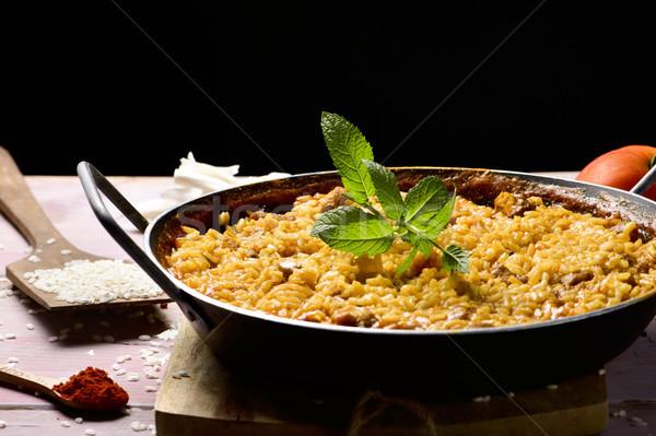 spanish chicken paella Stock photo © nito