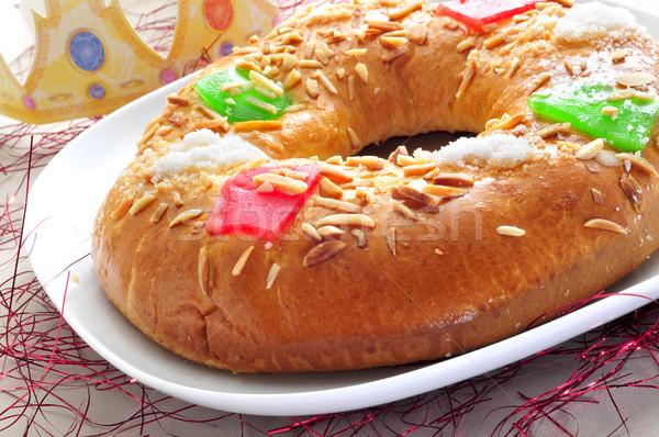 Stock fotó: Spanyol · három · királyok · torta · tányér · eszik · korona