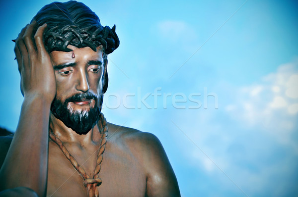 Jesus Christ with the crown of thorns in the way to Calvary Stock photo © nito
