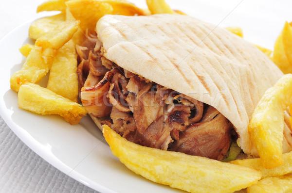 Foto stock: Quibe · prato · conjunto · tabela · restaurante