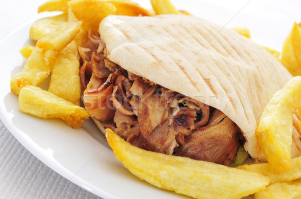 Kebab plaat ingesteld tabel restaurant Stockfoto © nito