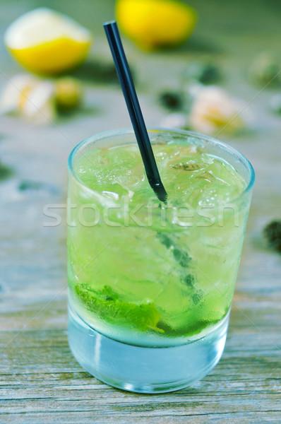 Apetitoso mojito vidrio rústico mesa de madera aire libre Foto stock © nito
