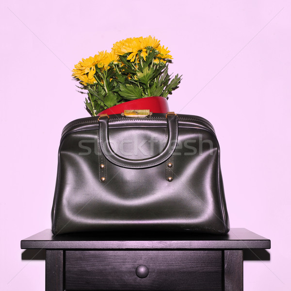 chrysanthemum flowers in a vintage bag, with a retro snapshot ef Stock photo © nito