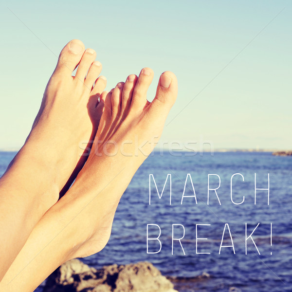 man relaxing next to the sea and text march break Stock photo © nito