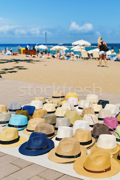 hats on sale at La Barceloneta beach in Barcelona, Spain Stock photo © nito