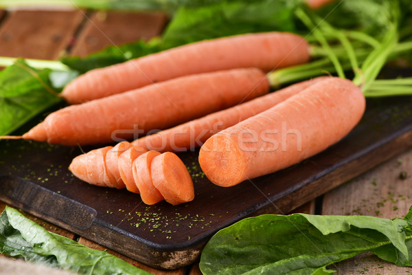 raw carrots on a chopping board Stock photo © nito