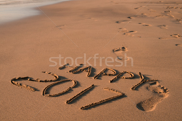text happy 2017 in the sand of a beach Stock photo © nito