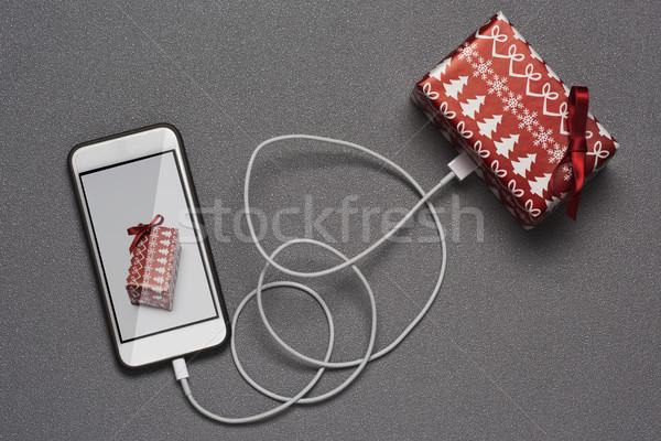 smartphone and christmas gift Stock photo © nito