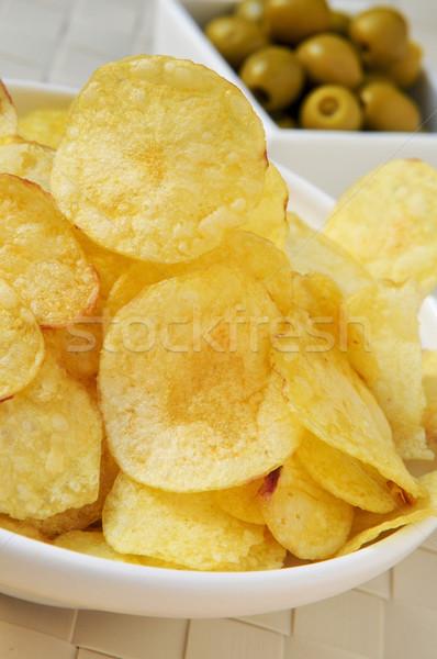 potato chips and olives Stock photo © nito