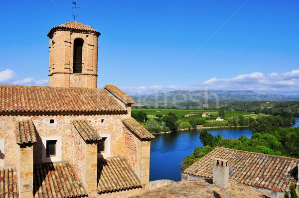 Esglesia Vella Church and Ebro River in Miravet, Spain Stock photo © nito