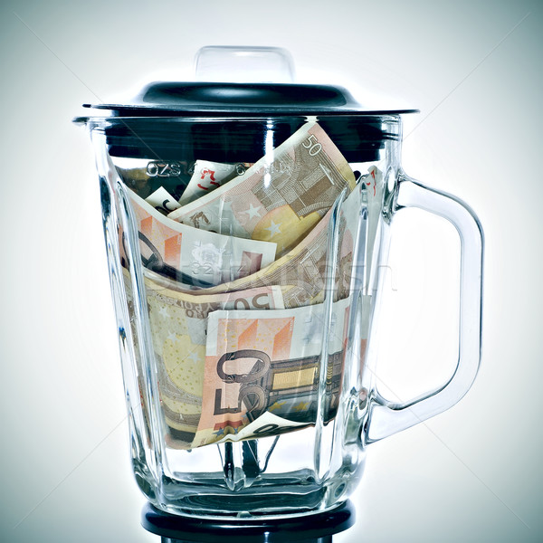 euro bills in a blender Stock photo © nito