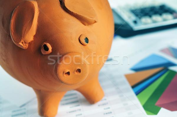 piggy bank, charts and calculator Stock photo © nito