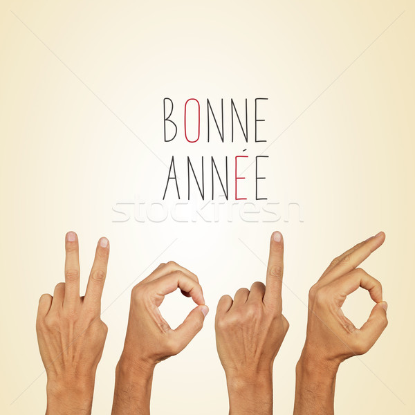 Szöveg 2016 boldog új évet francia férfi kezek Stock fotó © nito