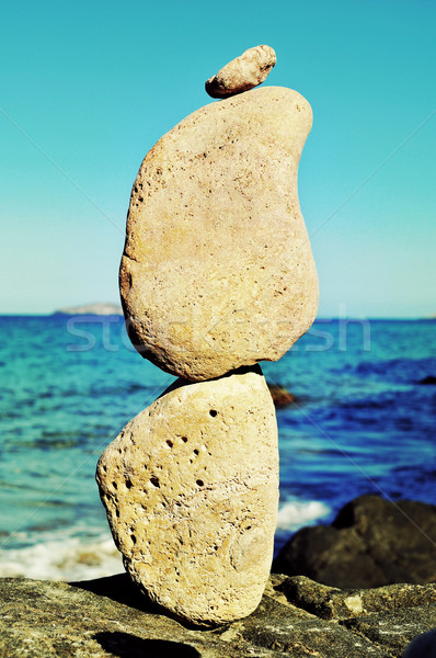 stack of balanced stones in Ibiza Island, Spain Stock photo © nito