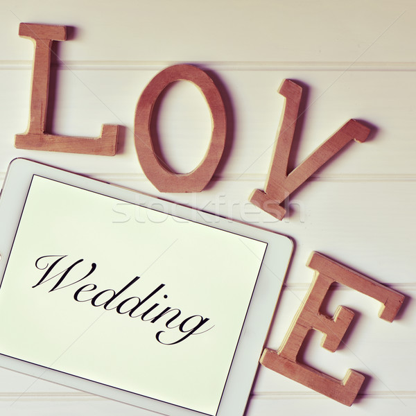 words love and wedding, filtered Stock photo © nito