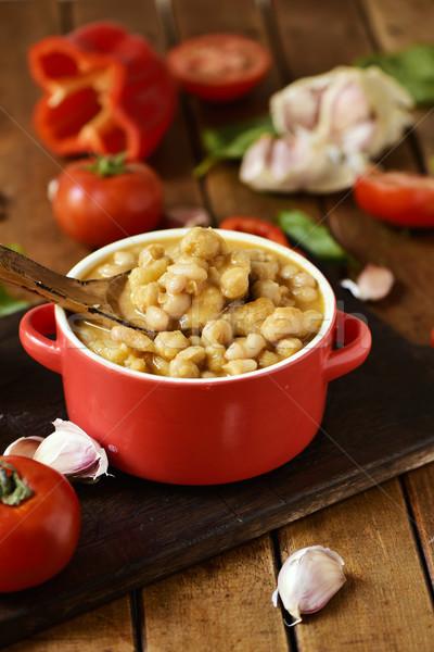 potaje de garbanzos, a spanish chickpeas stew, on a wooden table Stock photo © nito